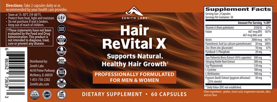 Hair Revital X Ingredients label back